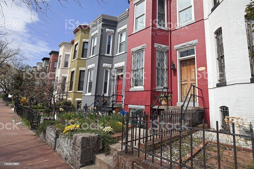 row houses on Capitol Hill washington DC stock photo