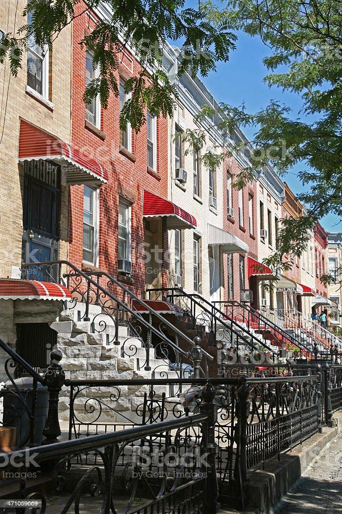 Row Houses On City Street royalty-free stock photo