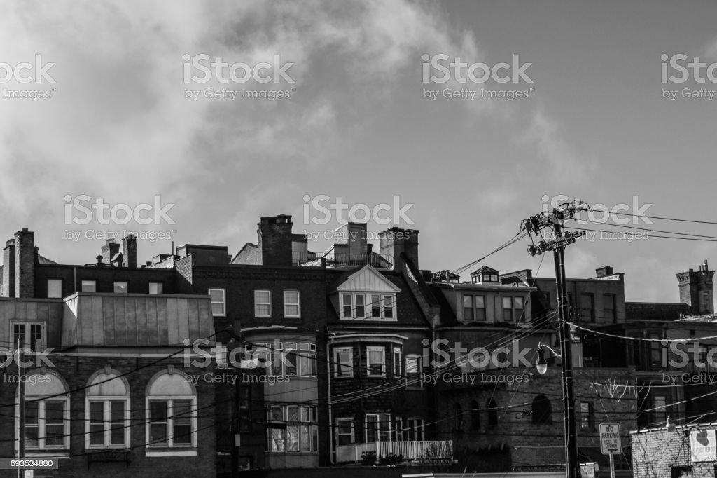 Row Houses on Delaware Ave Buffalo NY stock photo
