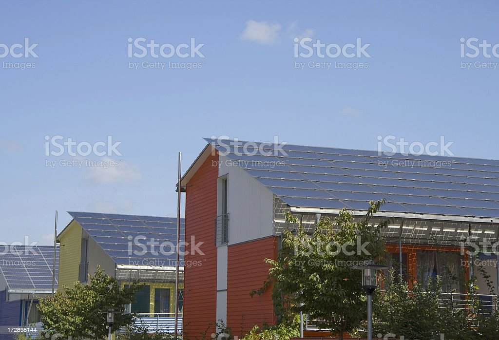 row houses with solarpanels royalty-free stock photo