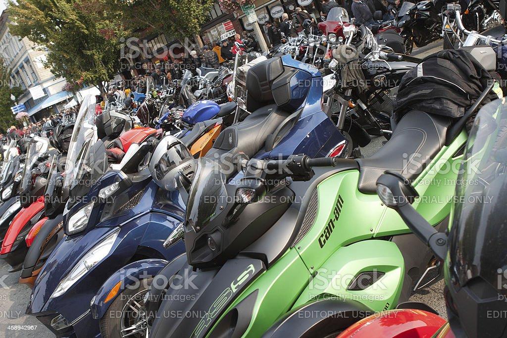 Row of 3-Wheeled Motorcycles at Oyster Run 9-23-12 stock photo