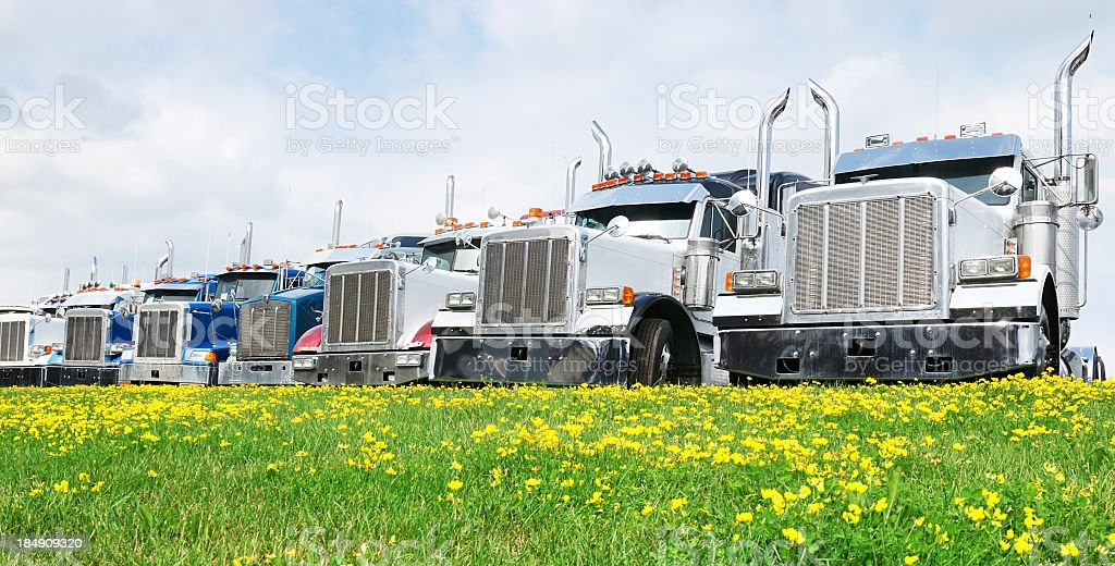 Row of 7 tractor trailers parked in front of a grassy field stock photo