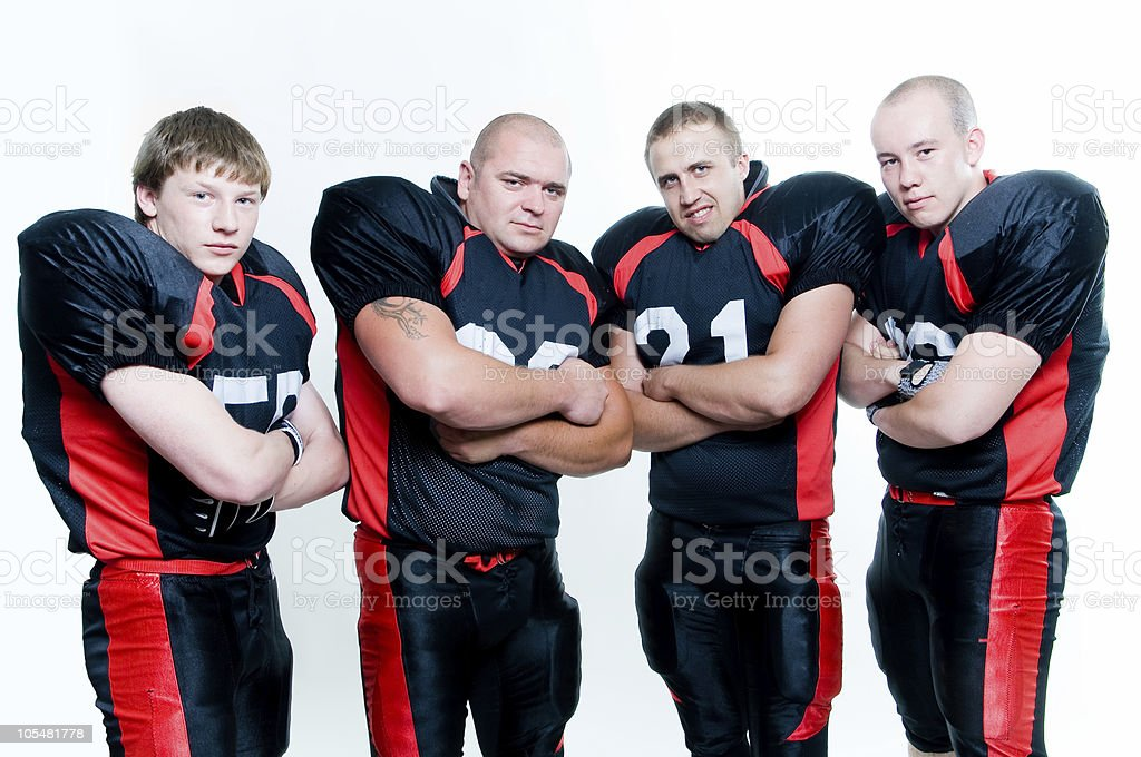 Row of American football players royalty-free stock photo