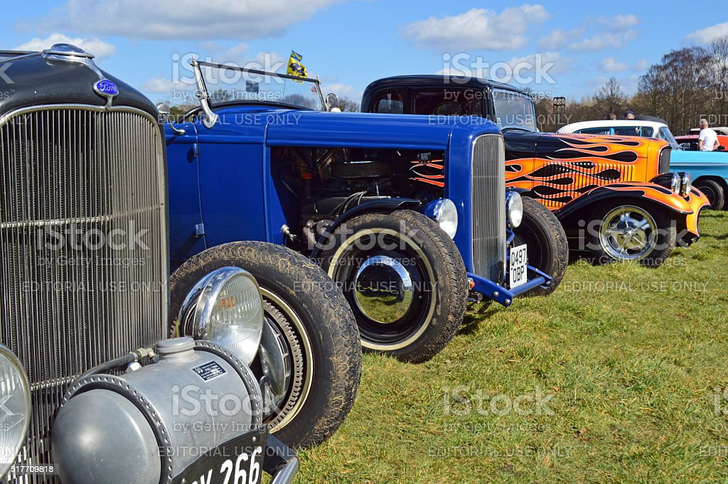 Row of American hot rods. stock photo