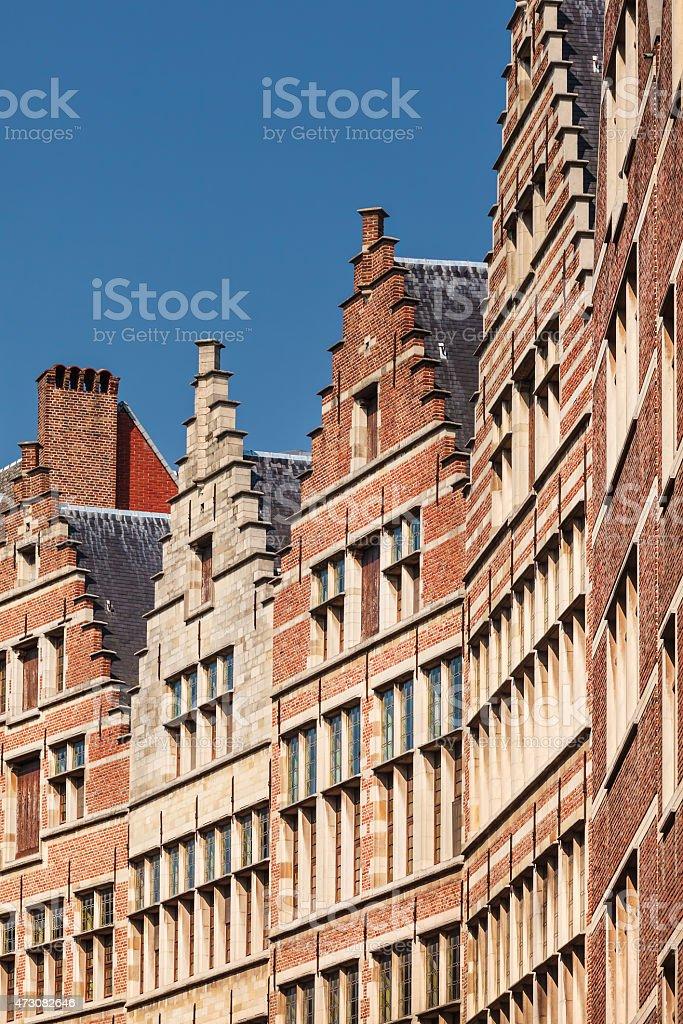 Row of ancient houses in Antwerp, Belgium stock photo
