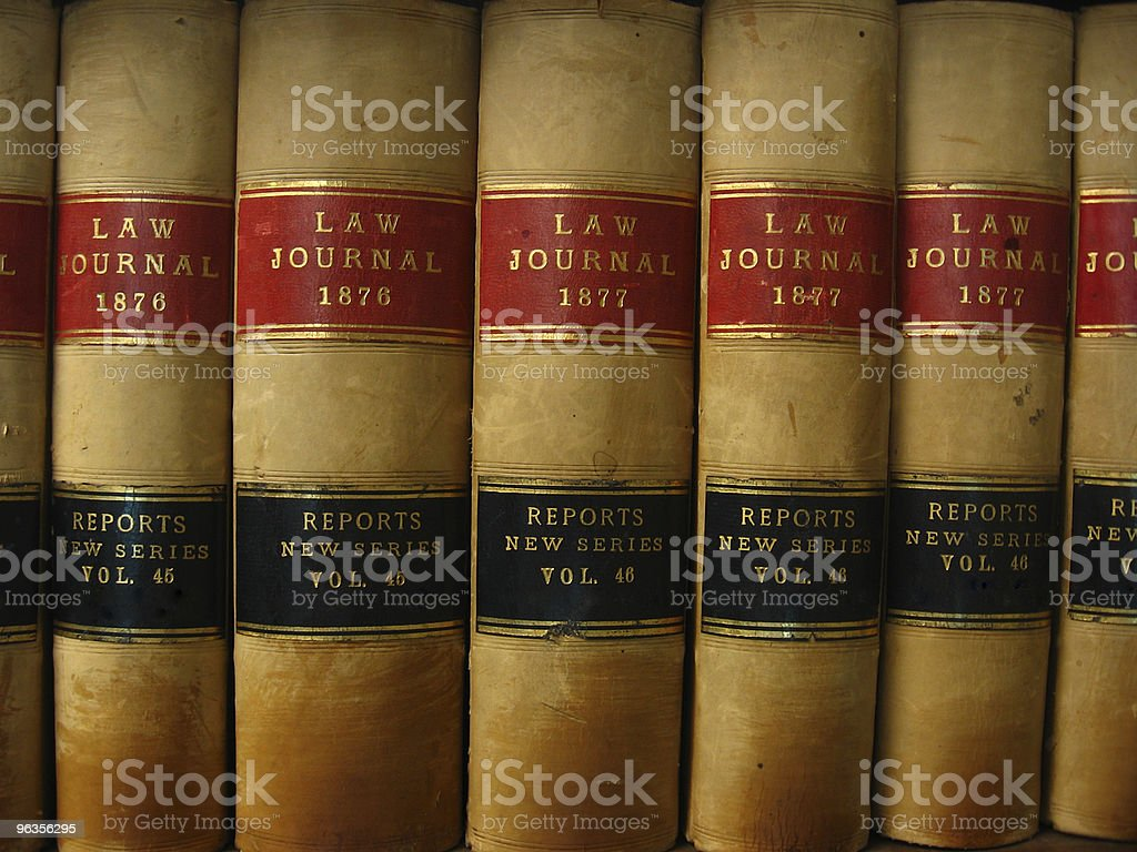Row of Antique Law Journal Books stock photo
