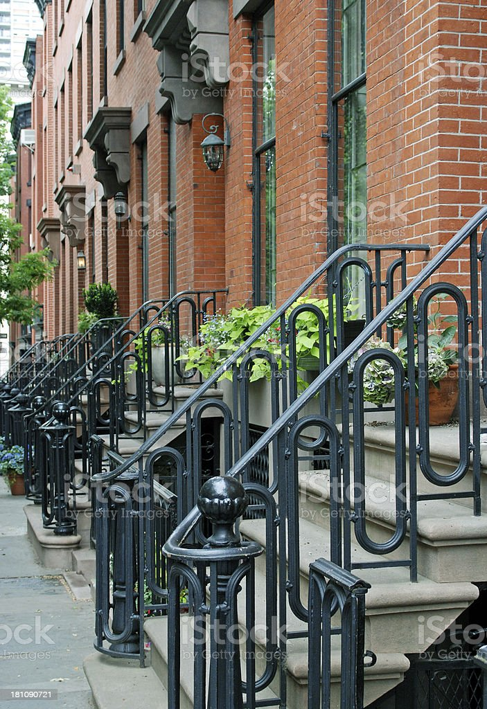 Row of apartment houses on Water Street in Brooklyn NY royalty-free stock photo