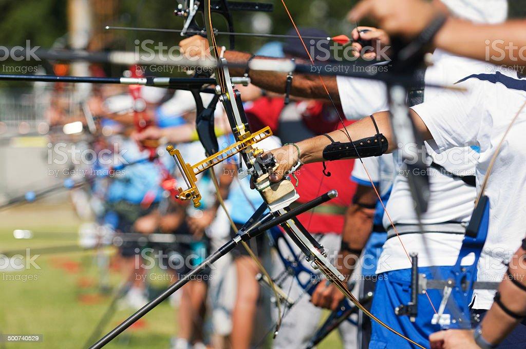 Row Of Archers stock photo