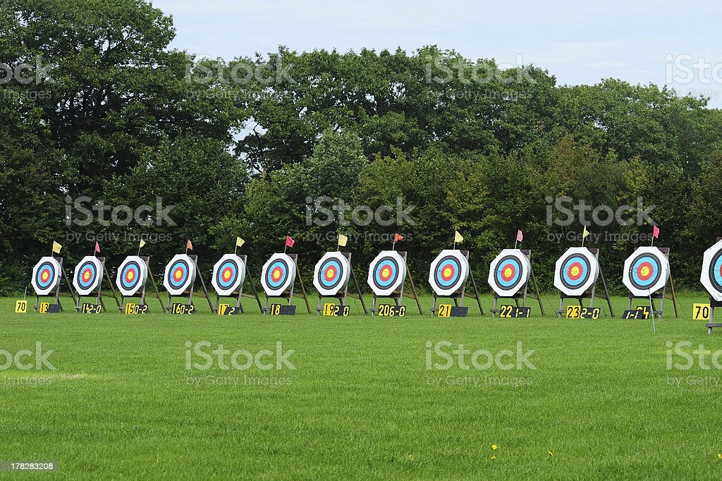 Row of archery targets stock photo