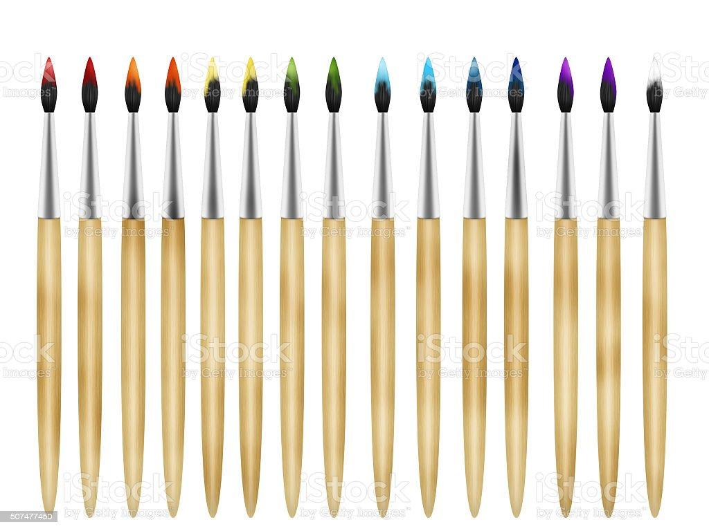 Row of art paint brushes with painted pile stock photo
