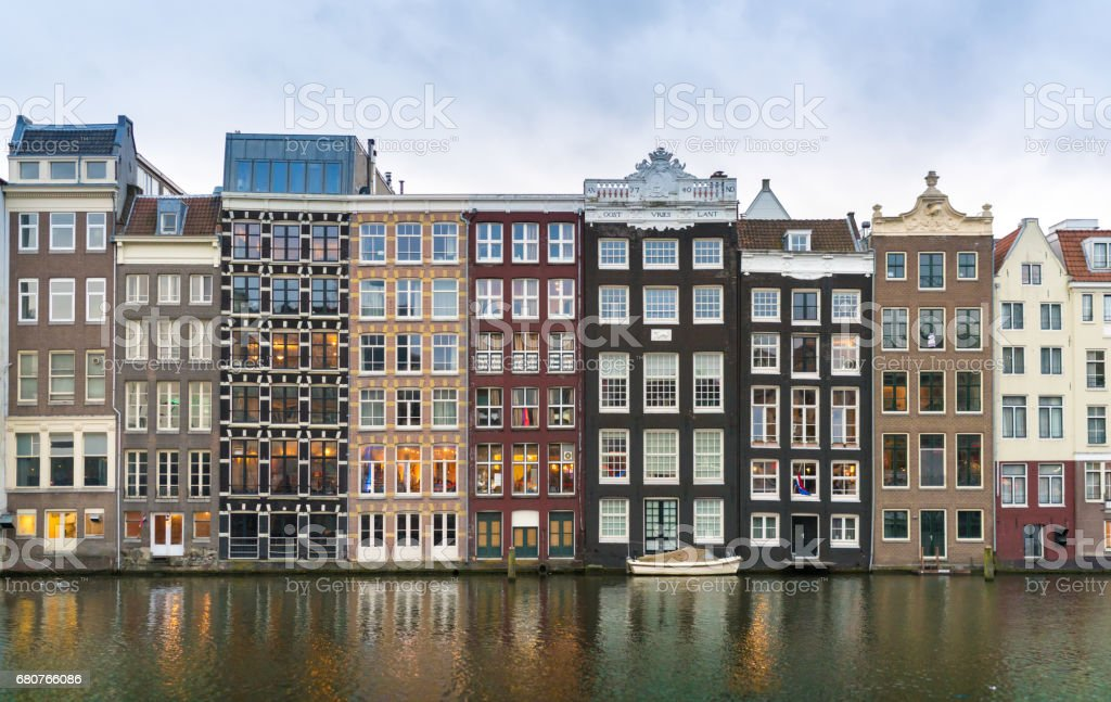 Row of Authentic Amsterdam stock photo