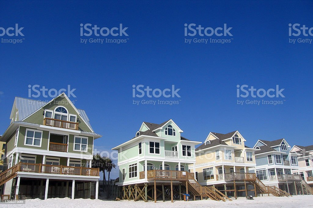 Row of Beach Homes and Cottages stock photo