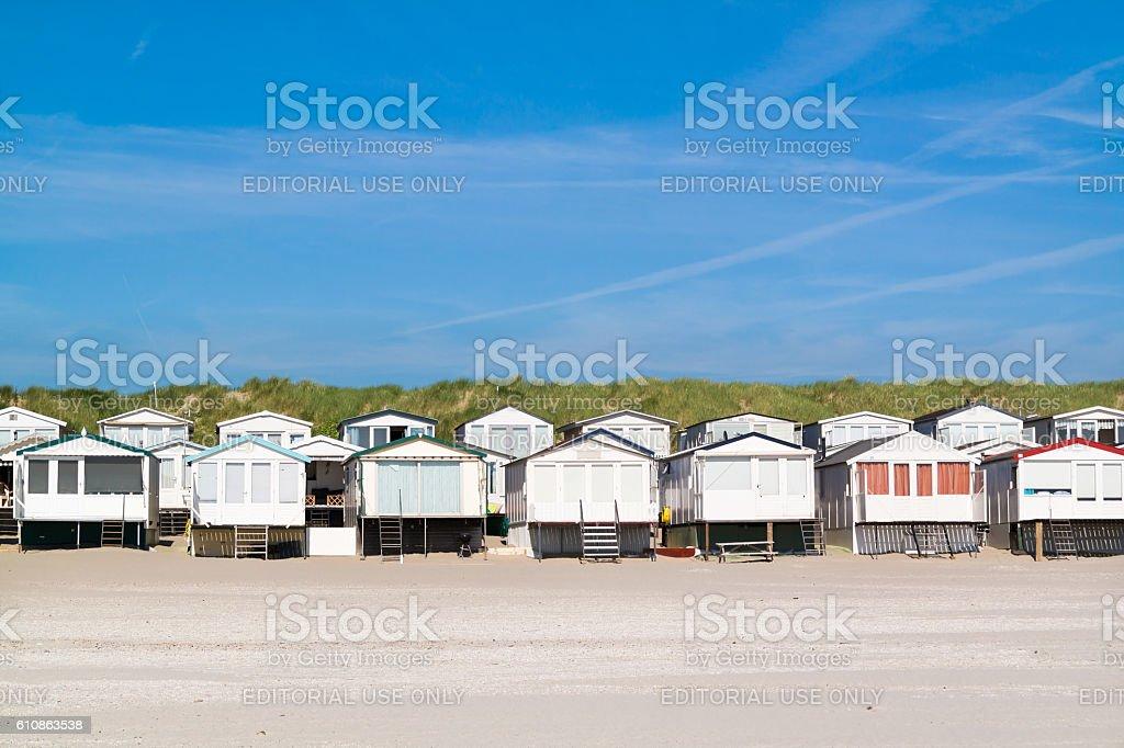 Row of beach houses, Netherlands stock photo
