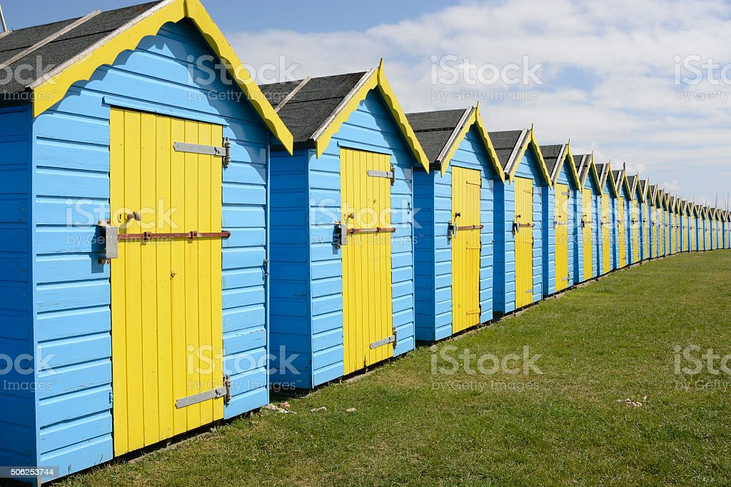 Row of beach huts on Bognor Seafront, Sussex, England stock photo