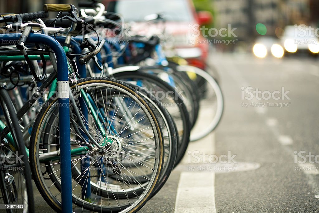 Row of Bicycles stock photo