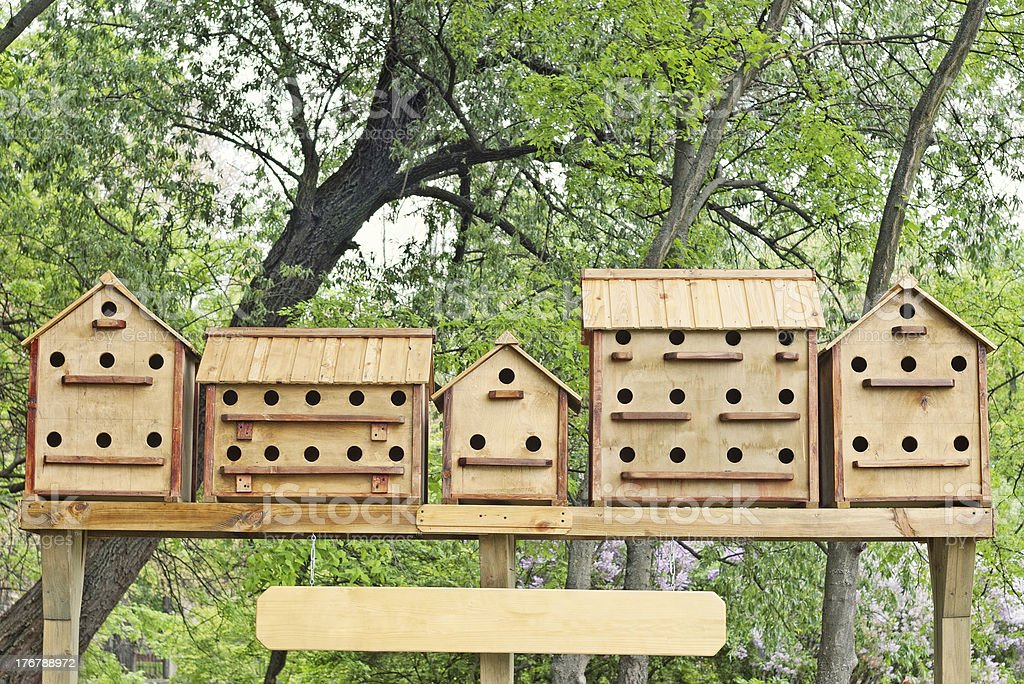 row of bird houses against trees with green leaves royalty-free stock photo