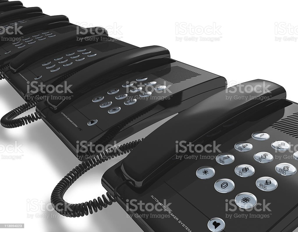Row of black office phones royalty-free stock photo