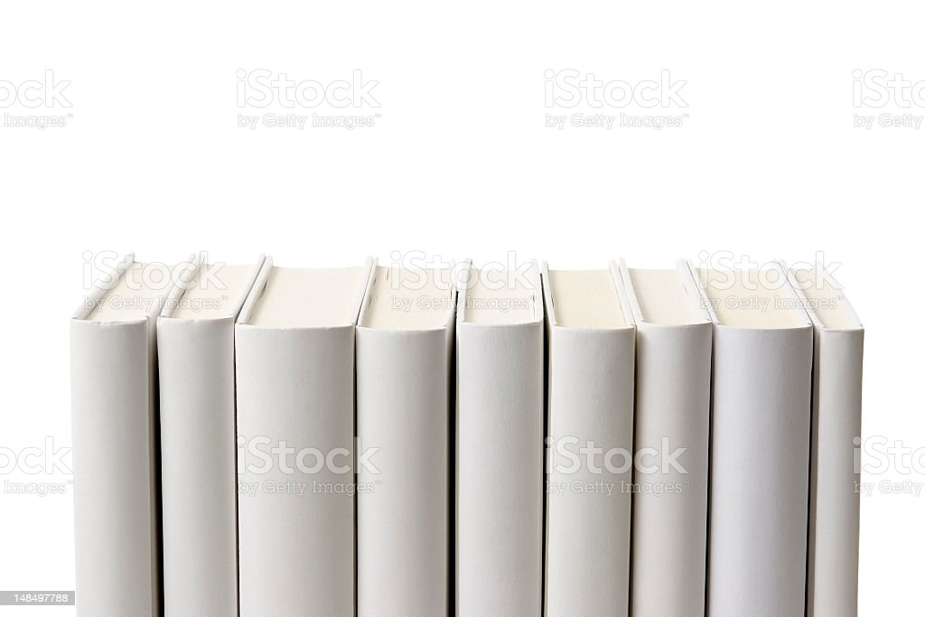 Row of blank books spine against white background stock photo