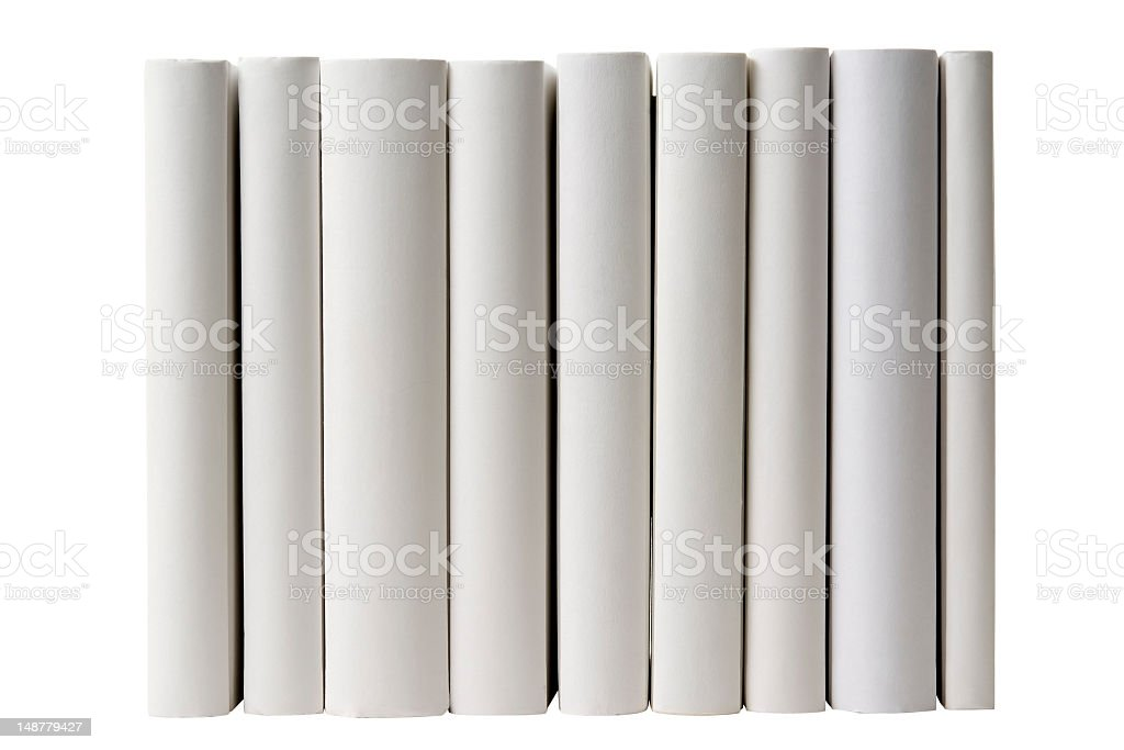 Row of blank books spine on white background stock photo