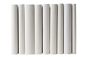 Row of blank books spine on white background