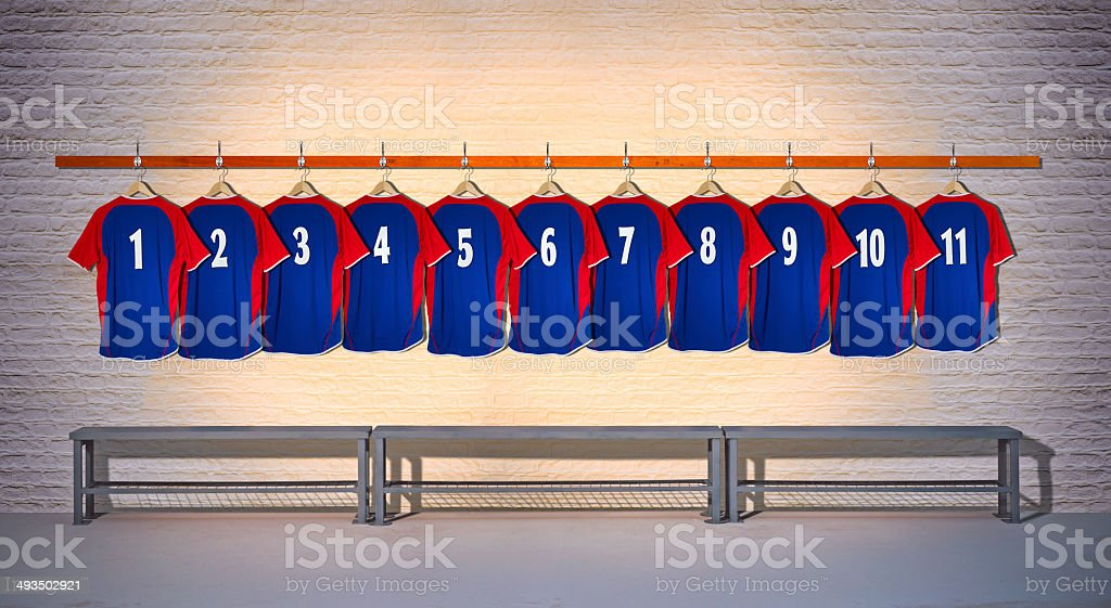 Row of Blue and Red Football Shirts 1-11 stock photo