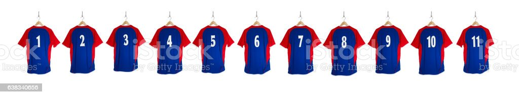 Row of Blue Red Football Shirts 1-11 stock photo