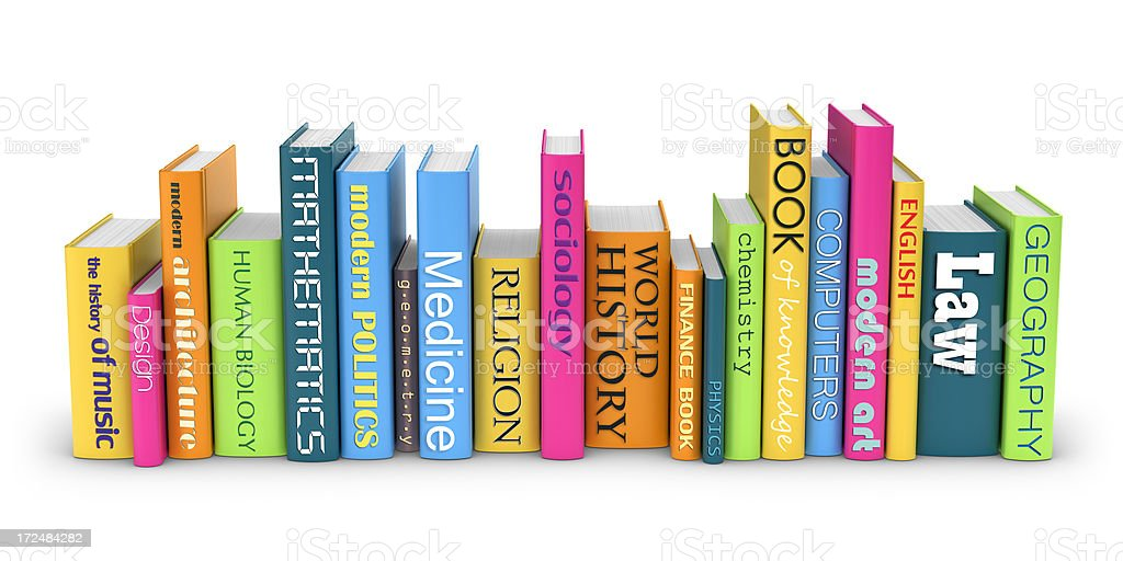 Row of Books from Different Subjects royalty-free stock photo