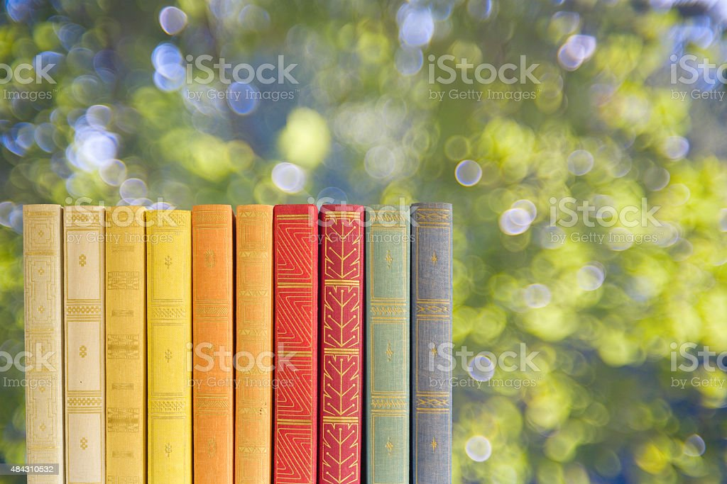 row of books on blurred nature background, free copy space stock photo