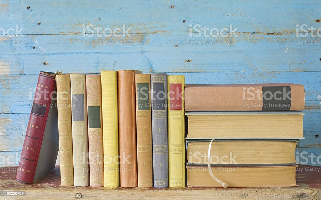 row of books stock photo