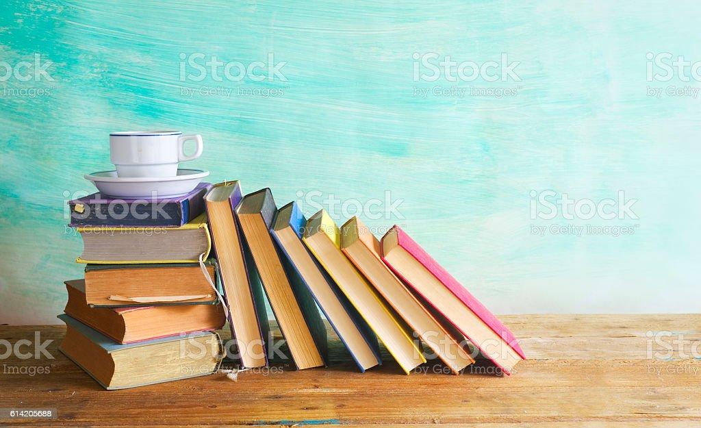 row of books stock photo