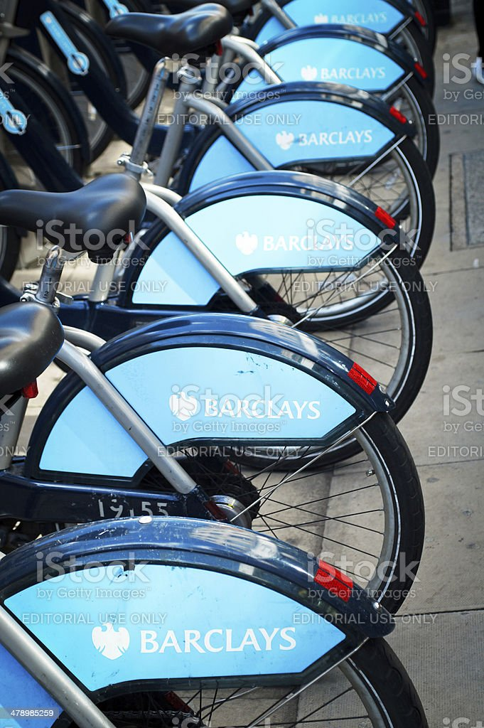 Row of Boris Bikes stock photo