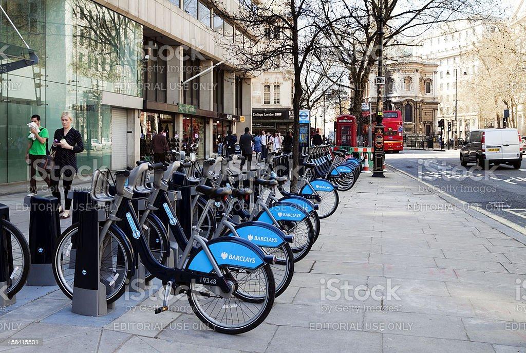 Row of 'Boris's Bikes' in the Strand royalty-free stock photo