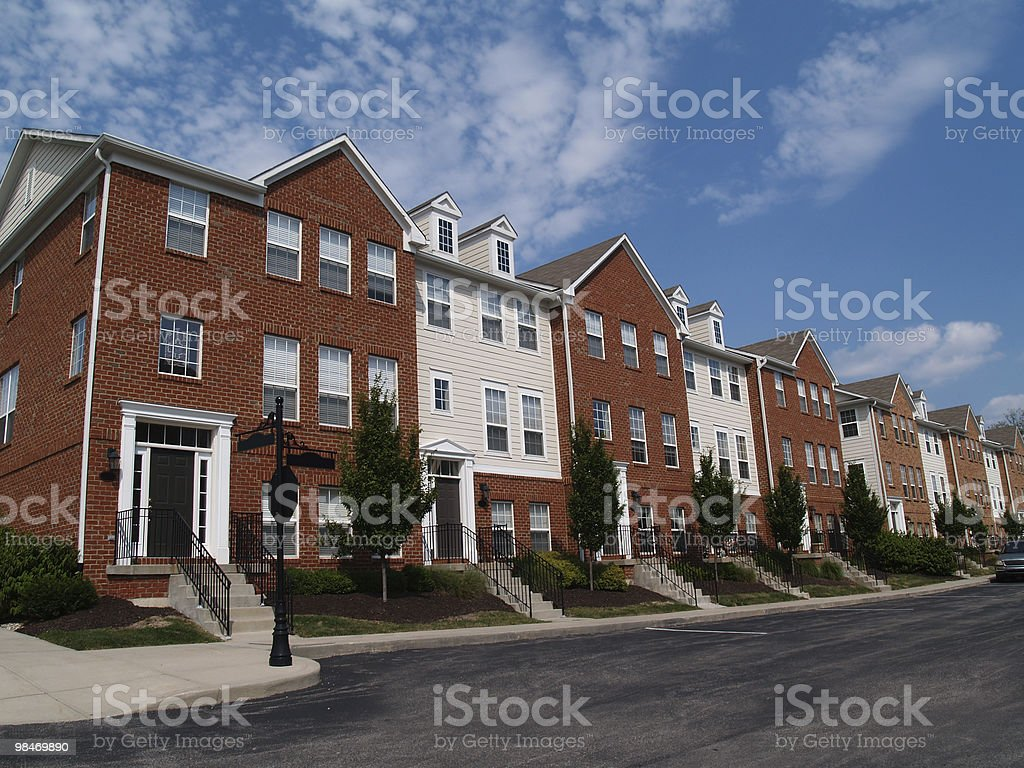Row of Brick Condos stock photo