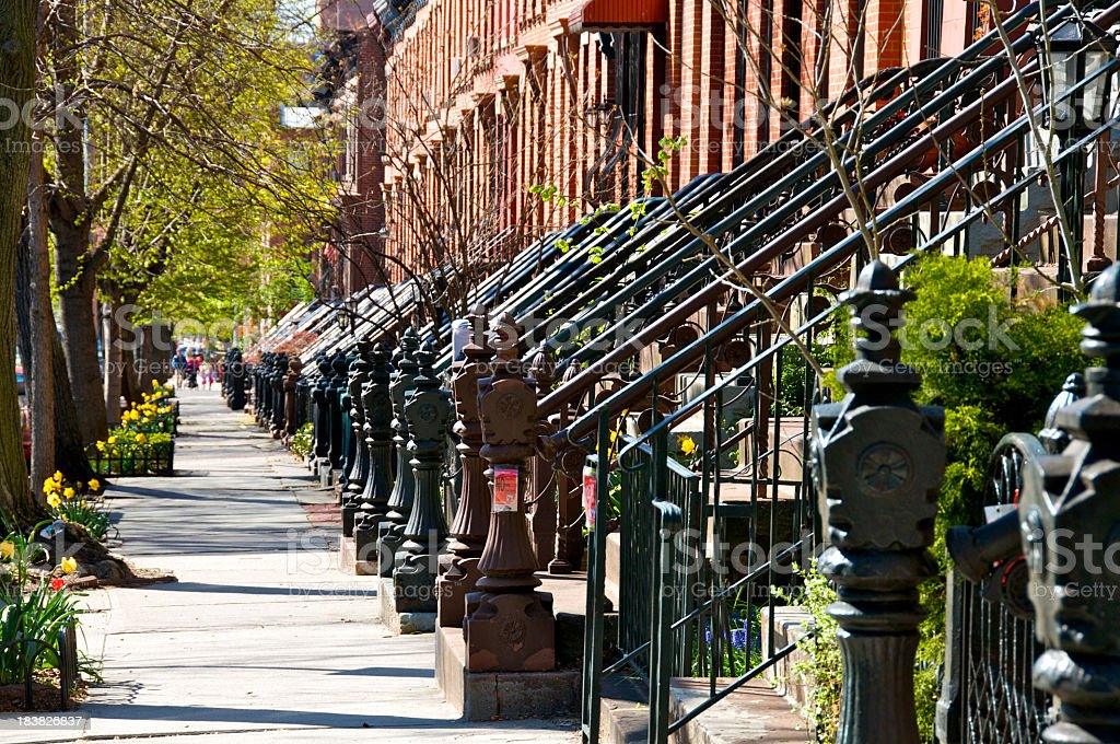 Row of brick homes in Park Slope of Brooklyn, New York City stock photo