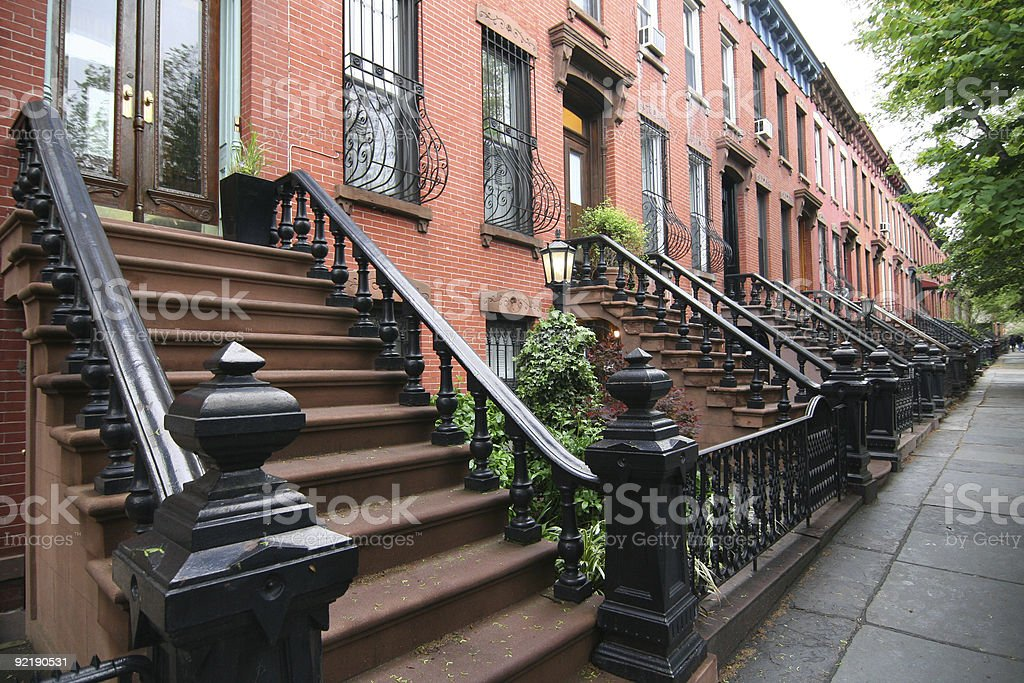 Row of brick homes stock photo