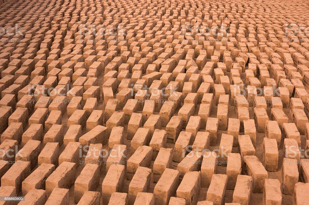 Row of bricks stock photo