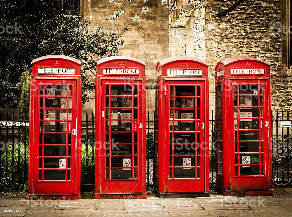 Row of british red telephone boxes stock photo