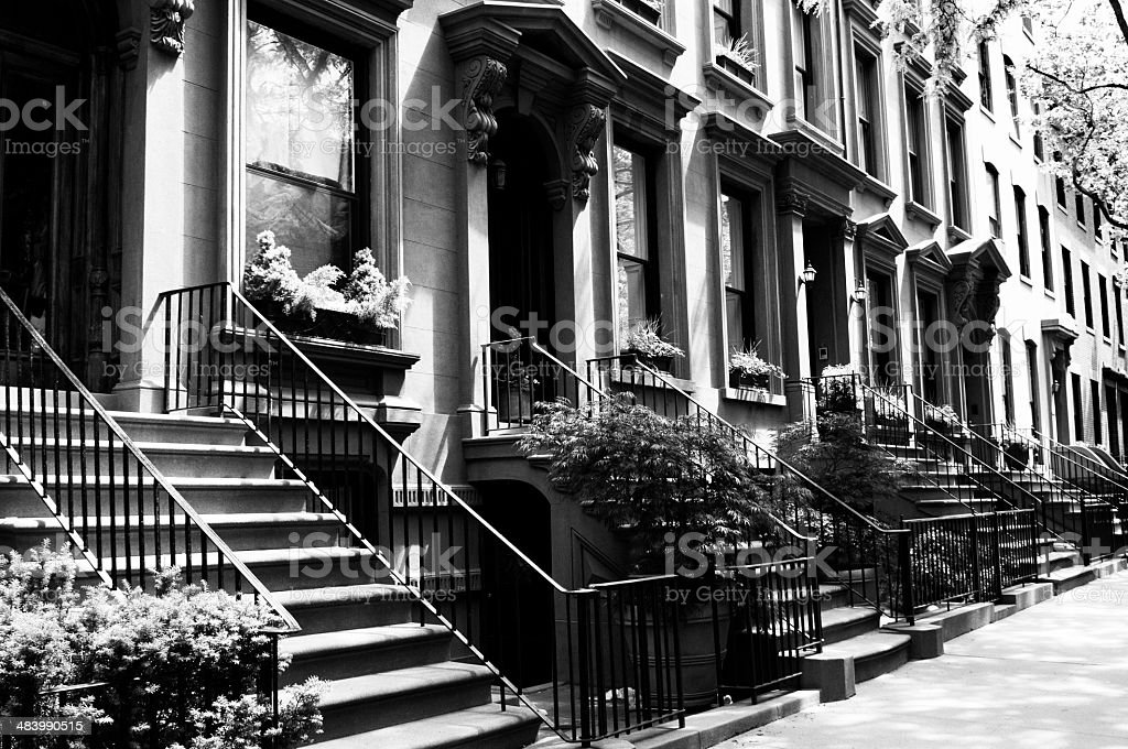 Row Of Brownstone,NYC.Black And White. royalty-free stock photo