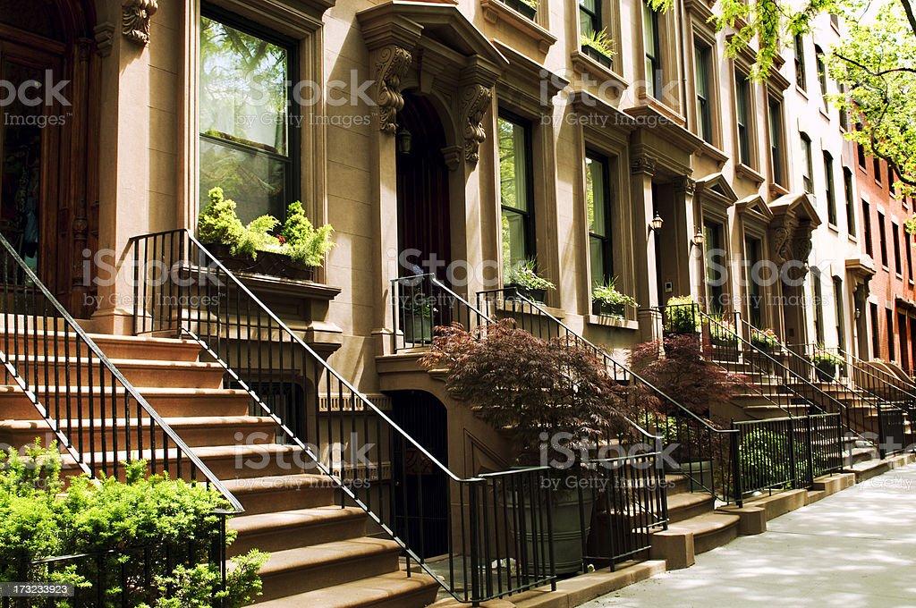 Row of Brownstones,NYC. stock photo