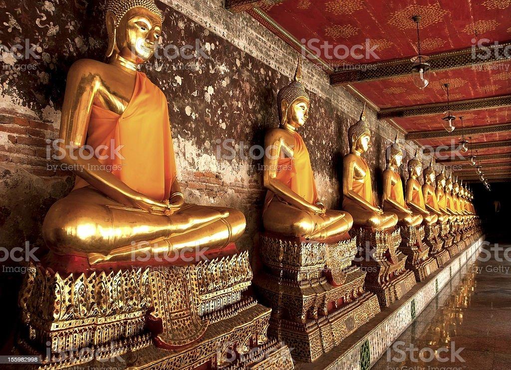 row of buddha image royalty-free stock photo