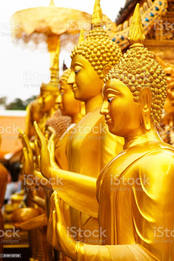 Row of Buddha images. stock photo