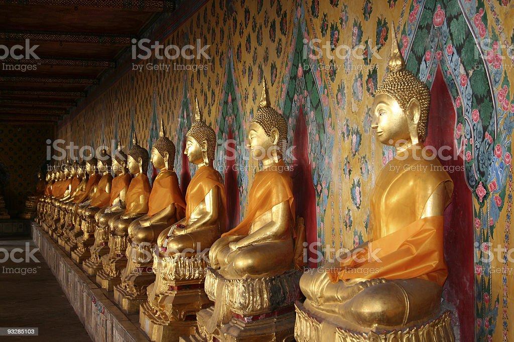 Row of Buddhas royalty-free stock photo