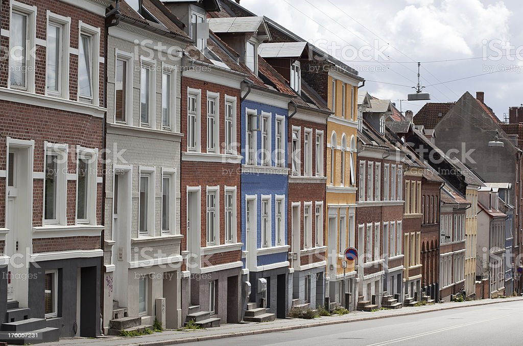 Row of Buildings along a Danish Street. stock photo