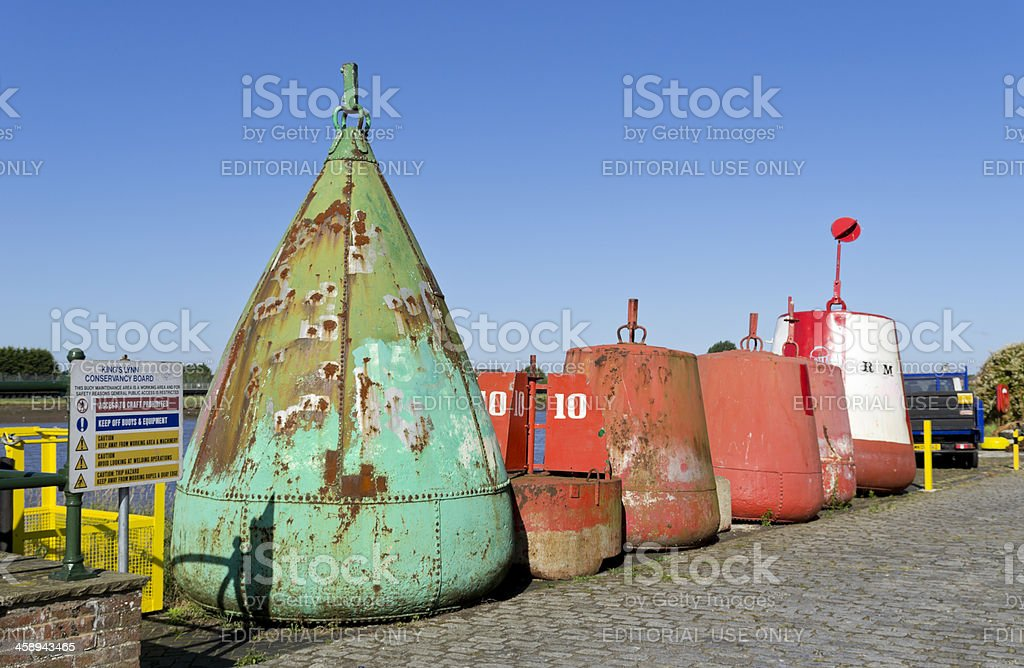 Row of buoys, King's Lynn stock photo
