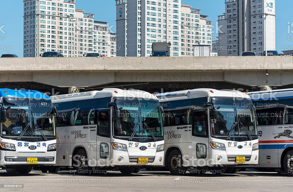 Row of buses at the main Bus station in Seoul stock photo