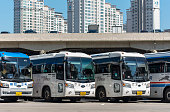 Row of buses at the main Bus station in Seoul