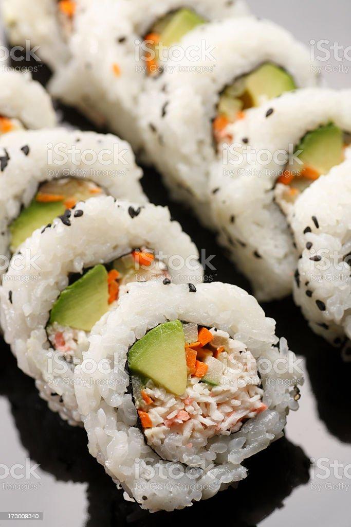 Row of California Roll sushi royalty-free stock photo