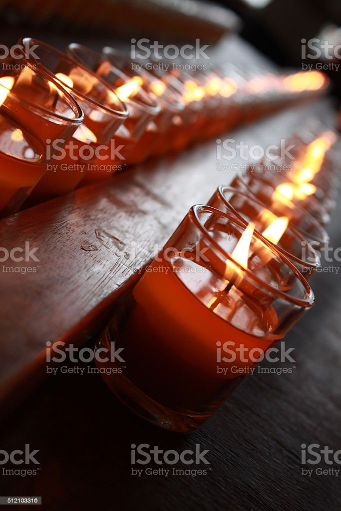 Row of candle glass stock photo