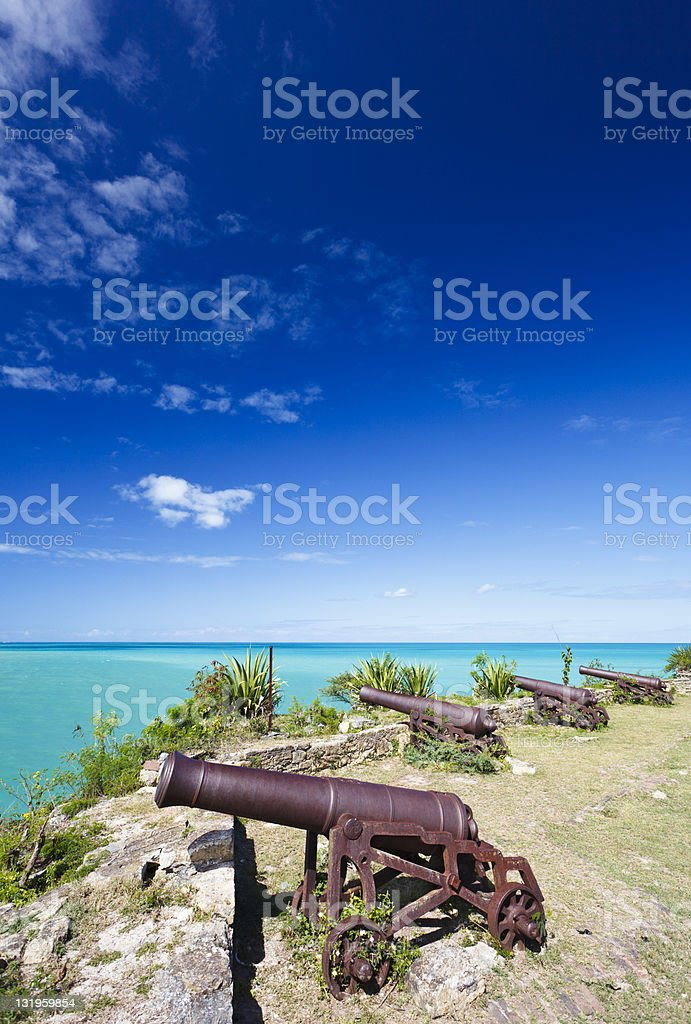 Row Of Cannons Overlooking The Caribbean Sea stock photo