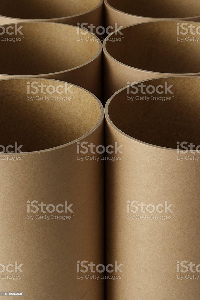 Row of cardboard cylinders royalty-free stock photo